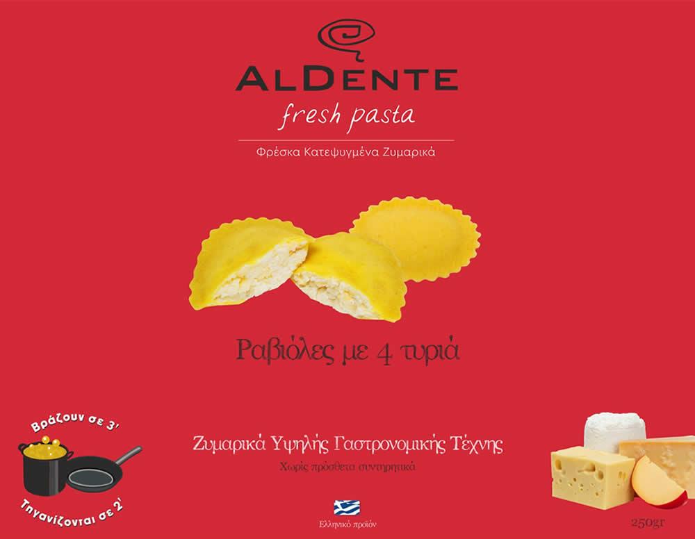 Νέα συσκευασία Al Dente Fresh Pasta Ραβιόλες με 4 τυριά